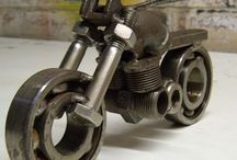 Mororcycle metal sculpture