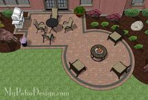 Patio /     https://youtu.be/14ce0wzqzOo  Interlocking pavers - easy to install. Can expand patio later.   Dig the patio space 7 inches deep. Fill the hole with 3 1/2 inch drainage gravel, 1 inch of sand, & the paver stones which are 2 1/2 inches thick. (What of my pavers aren't 2 1/2 inches thick?)  Lay landscape fabric first. Then the gravel.   Slope the patio away from the house.    Tools: shovels, wheelbarrow, tamper (to pick down the gravel)