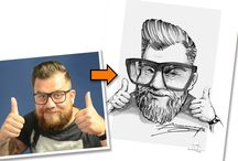 Portrait-Karikatur nach Foto