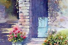 cuadros ventanas y flores