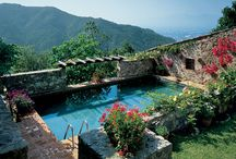 Pooools / Tuscan colors, dark pool bottom, blue tile and greenery