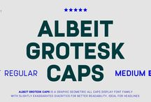 Albeit Grotesk / Albeit Grotesk  Albeit Grotesk is a graphic geometric display font family with slightly exaggarated diacritics for better readability making it ideal for headlines.  https://www.myfonts.com/fonts/cloud9-type-dept/albeit-grotesk-caps/