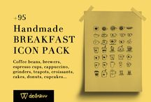 Handmade Breakfast Icon Pack Vol.1 / Handmade Breakfast Icon Pack Vol.1 INTRODUCING HANDMADE BREAKFAST ICON PACK VOL.1  This pack contains more than 95 handdrawn pictograms, perfect for handmade style product packaging, websites and prints. Each element is obtained by using a high definition scan, accurately designed with a 0,4 Pilot G-TEC-C4 Pen, to preserve every line of the irregular hand made style.  buy it on sellfy https://sellfy.com/p/VvBm/