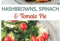 Hash brown, spinach & tomato pie