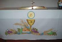 Pintura toalhas para altar