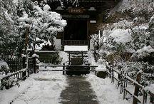 shrine, castle, city... in snow