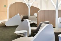 design of the interiors of an airport lounge