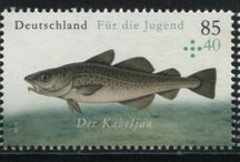 Fish Stamps / A fish is any gill-bearing aquatic vertebrate animal. Many fish can breathe air via a variety of mechanisms. Most fish are cold-blooded, which enables their body temperature to vary as ambient temperatures change. Commercial and subsistence fishermen hunt fish in wild fisheries or farm them in ponds or in cages in the ocean. They are also caught by recreational fishermen, kept as pets, raised by fishkeepers and exhibited in public aquaria. Fish, as a foodstuff, is an important resource worldwide.