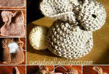 conejitos tejidos en dos agujas