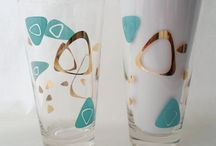 Mid Century Modern Glassware / Will be forever trying to find the pattern that matches my mom's old Fred Press Glassware. Looking for the aqua and gold sunburst patterns.