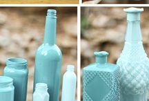 Blue vases / DIY blue vases { Decorative vase tutorials}.