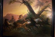 PITTORE GALLO GALLINA (CREMONA 1796 MILANO 1874) / Scena di cavalli .  Misure cm. 199 x 149, con cornice cm. 218 x 178 Olio su tela