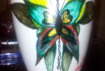 Painted coffee cups