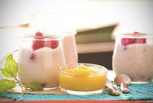 Receta de Mousse de yogur y frambuesa y salsa de mango