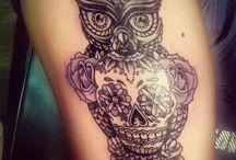 Sugar skull owl tattoosss