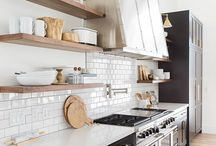 Black kitchen with white & gold accents