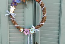 wreaths / handmade wreaths with polymer clay flowers