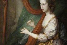 18th century portraits with harp