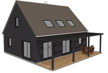 Plans de la maison Sanson 99 m² habitables / Un même plan peut être adapté dans différents styles.Syma maisons bois propose de définir avec vous le plan de maison qui correspondra à vos besoins et à votre budget, nous pourrons ensuite adapter ce plan au style qui vous plaira. L'exemple ci-dessous est une variation autour d'un même plan, de plain pied ou avec étage dans des styles classiques et contemporains. www.syma-maisonbois.fr