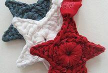 Crochet - étoiles, nuages, gouttes ; stars, clouds, drops