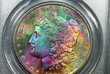 Morgan silver dollar rainbow toning