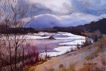 Watercolor landscape / winter