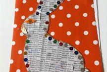Petit lapin en papier journal / Gabarit de lapin Papier journal Papier cadeau Sequins