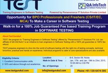 Jobs In Software Testing / TEST - Training Engineers in Software Testing, specializes in providing software testing and quality assurance (QA) training along with placement assistance for freshers in IT industry to make a strong start in world of QA. TEST office located in the hub of IT activity in Noida, India.