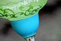 Painted margarita glasses