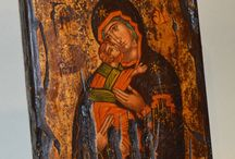 Handpainted Byzantine Tempera Icons on Old Wood