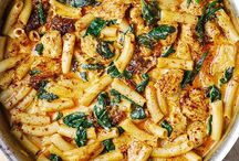 Asiago chicken and spinach pasta