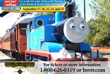 Day Out With Thomas / Each September, this cheeky little locomotive visits the Boone & Scenic Valley Railroad.  Tickets to the event include a ride behind Thomas, a ride aboard our electric trolley, stories, videos, magic shows, live music, the chance to meet Sir Topham Hatt, and much more!