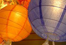 Lampiony z papieru KULE ASYMETRYCZNE / kule z papieru, girlandy, rozety wiszące z papieru, ozdoby z papieru, rozety, ozdoby wiszące, papierowe ozdoby wiszące, ozdoby z bibuły, wystrój sal, dekoracja sal, dekoracje papierowe