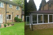 Before and After - Amazon Windows extensions / A board to showcase our extensions and the impact a new conservatory or orangery can have on your home. http://amazonwindows.co.uk/