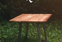 The Matthew Kiss - Oak Dining Table with cherry wood bow tie inlay