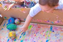 Messy play with paint