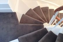Spiral Staircase In Carpet / Client: Private Residence In Central London. Brief: To supply & install new carpet to stairs.