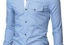 Doublju Mens Casual Plaid Patched Pocket Slim Dress Shirts