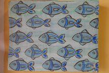 dipinti di pesci / dipinti su tavole di legno