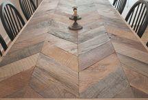 herringbone timber tables