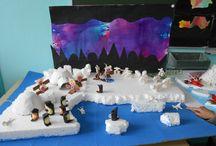 Création de classe: paysage du Grand Nord / Paysage créé à l 'occasion du projet voyage autour du monde par mes élèves de CM2.