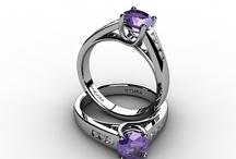 Purpel Wedding / #Amethyst Wedding Ring, #Amethyst Band Rings, #Purple engagement ring, #Wedding ring sets, #Amethyst Band