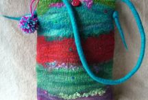 Multicolored  felted bags