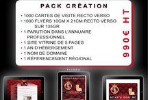 """Pack Création d'entreprise / Avec le pack """"création"""", Monaco on Web vous accompagne dans l'ouverture de votre entreprise en vous proposant la création de votre identité visuelle. Dans le cadre de cette offre, nous créerons un site internet simple dit Site Vitrine, au design graphique de votre choix, ainsi qu'un lot de cartes de visites et de flyers au même graphisme que votre site."""