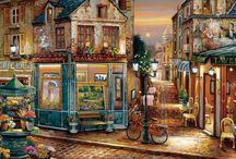 Malarstwo - domy , uliczki...