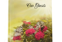 Memorial Guest Books / Glossy, hardcover memorial guest book and keepsake especially to highlight a loved one's life. Add an optional photo on the cover to any guest book.  Guest books also available in same design for other events such as birthday, wedding, anniversary, baby shower and more! Large assortment at www.FuneralProgram-Site.com and www.CelebrationsOfLifeStore.com