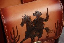 Men's vintage handmade travel bag, pyrographied Far West