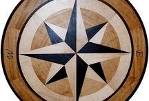 Charybdis Compass Rose Floor Medallion Inlay