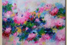 Malerier / Rosa violet abstrakte blomster