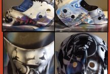 Airbrush / Airbrush Hockey Mask Cascotes Custom painting